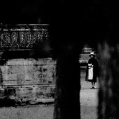 Douglas Kirkland  Mademoiselle Chanel in the gardens at Versailles  1962 [printed later]  archival pigment print, edition of 24, signed  paper size > 20 x 24 inches