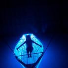 Voyage through the Void (Umi no Utsuwa), 2013 woven optical fiber, stainless steel frame, light, sound  Installation at the Setouchi Triennial, Shodoshima Island, Japan