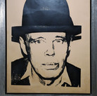 Andy Warhol Joseph Beuys, circa 1979-80 unique screenprint on newsprint on linen authenticated by AWAAB, stamped artwork size > 47.25 x 35 inches framed size > 52.5 x 40.5