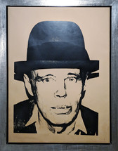 Framed screenprint in black and diamond dust on newsprint of Joseph Beuys by Andy Warhol