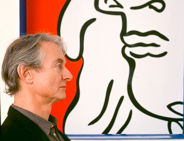 BOB ADELMAN (1930-2016)  Roy Lichtenstein in front of the Greene Street Mural, Leo Castelli Gallery (profile)  C-print, AP, signed  paper size > 20 x 19 inches