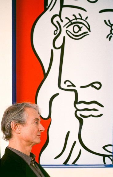 BOB ADELMAN (1930-2016) Roy Lichtenstein in front of the Greene Street Mural, Leo Castelli Gallery (profile) photograph 1983 [printed later] C-print, AP, signed  Paper Size: 20 x 19 inches | 50.8 x 48.3 cm