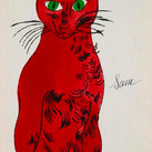 """Andy Warhol  Sam Sitting, 1954  offset lithograph and watercolor on paper, one of 190 copies.  Page 2 of the book, """"25 Cats Named Sam and One Blue Pussy"""", with lettering by Julia Warhola, printed by Seymour Berlin  8.75 x 6 inches"""