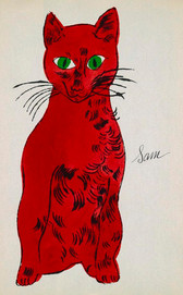 """Screenprint of a illustrated red cat with green eyes with text """"Sam"""""""