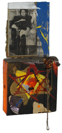 Boris Lurie (1924-2008) Untitled, c. early 1970s  paper collage, paint, and chains on cardboard box  17 x 10.5 x 3.5 inches