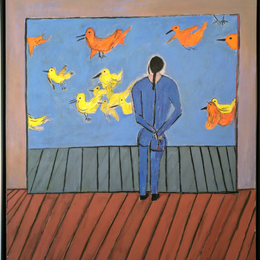 James Juthstrom (1925-2007) Untitled (Birds) circa mid-1990s  acrylic on canvas 76.75 x 68.75 inches