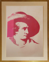 Framed screenprint in red on newsprint of Goerthe by Andy Warhol