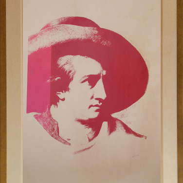 Andy Warhol  Goethe, circa 1980s unique screenprint on newsprint on linen authenticated by AWAAB, stamped ©ANDY WARHOL unframed size > 47 x 36 inches