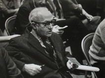 Lee Strasberg seated at the Actors Studio in New York City, 1959