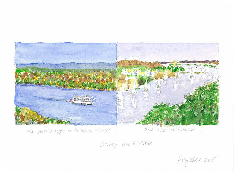 ROGER WELCH Study for a Video: Mississippi and Nile (2005)  watercolor on arches paper 9 x 12 inches | 22.9 x 30.5 cm
