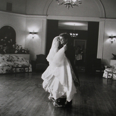 Jacques Lowe (1930-2001)  John F. Kennedy dancing with Joan Bennett at her wedding to Edward Kennedy, Bronxville, NY  photo November 29, 1958 [printed later]  gelatin silver print, AP, signed  paper size > 16 x 20 inches