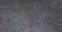 Detail of acrylic on canvas painting, created from superimposed layers of blue, white, violet minuscule circles
