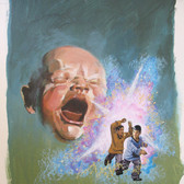 """Star Trek  """"World Against Time""""  George Wilson  Issue #42/ January 1977  Watercolor, gouache on bookboard, 14 x 18 inches"""
