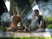 TAIJI TERASAKI  Tattoo High Priest: Kahuna Ka Uhi Kelilokalani Makua Performs Kava Ceremony with Apprentice, 2017  lightbox, 36 x 48 inches