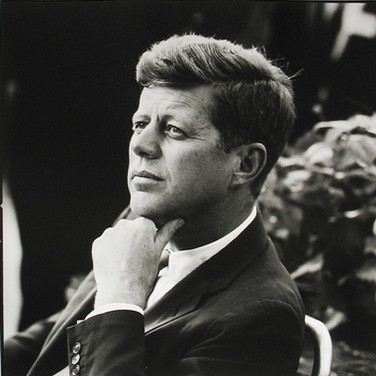 Jacques Lowe (1930-2001)  John F. Kennedy, First unofficial campaign trip   photo 1959 [printed later]  gelatin silver print, signed  paper size > 20 x 16 inches