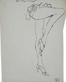 Untitled (High Heels), circa 1950s ink on paper [blotted ink technique], signed 12 x 10 inches