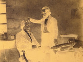 ALPHONSE DE BRÉBISSON  The Phrenologist  circa 1849 potassium fixed paper negative  6.5 x 5 inches