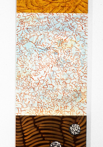 Ron Morosan Deep Brain Tattoo, 1995 acrylic and oil on wood 84 x 24 inches