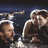 Douglas Kirkland  Director James Cameron, Leonardo DiCaprio and Kate Winslet on the set of Titanic, Baja, California  photo 1996 [printed later]  archival pigment print on watercolor paper, edition of 24, signed, numbered  paper size > 24 x 30 inches