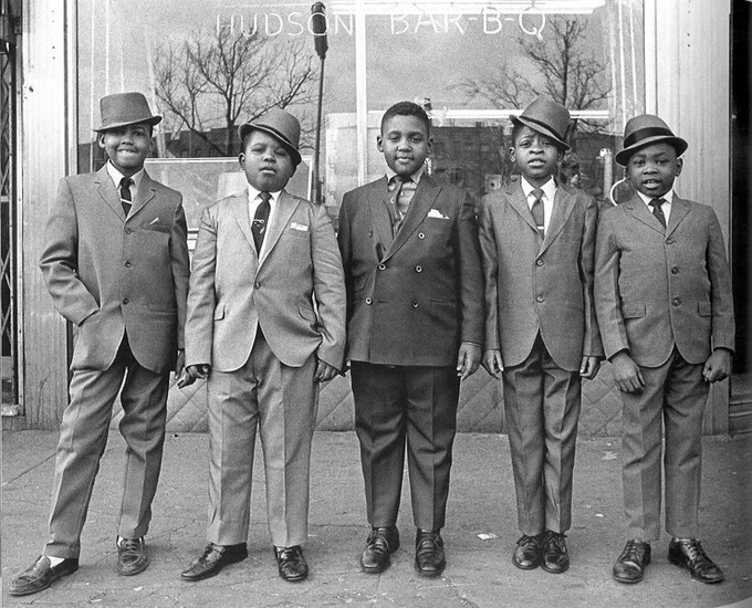 BOB ADELMAN (1930-2016) Boys to men, Easter Sunday, Harlem, New York City photo c. 1979 [printed later]  gelatin silver print, edition of 15, signed, numbered  Paper Size: 16 x 20 inches | 40.6 x 50.8 cm