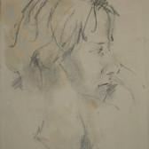 Stuart Sutcliffe (1940-1962)  Untitled (Profile), circa 1950s  charcoal on paper,  9 x 7 inches