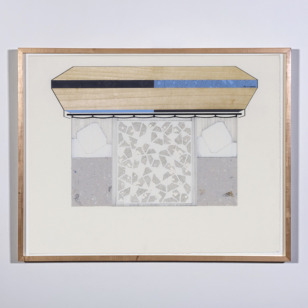 ALAN STEELE Modern Equipment, Marityx Mereremex, 2010 pen and ink, ink, wood veneer, hand made paper, rice paper on hand made paper Artwork: 19 x 25 inches | 48.3 x 63.5 cm Framed: 21 x 27 inches | 53.3 x 69.2 cm Unique, Framed