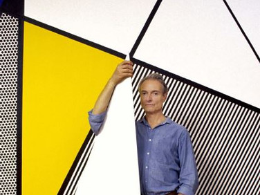 "BOB ADELMAN (1930-2016)  Roy Lichtenstein standing before ""Perfect Painting #1"" in his studio  photograph 1985 (printed later)  archival pigment print, AP, signed  paper size > 22 x 14 inches"