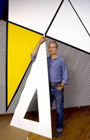 """BOB ADELMAN (1930-2016) Roy Lichtenstein standing before """"Perfect Painting #1"""" in his studio  photograph 1985 [printed later]  archival pigment print, AP, signed  Paper Size: 22 x 14 inches 