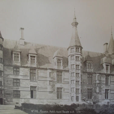 Séraphin-Médéric Mieusement (1840- 1905)  Ducal Palace, Nevers, circa 1880s albumen print mounted on bookboard, inscribed, stamped  17 x 10.5 inches
