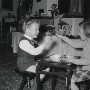 Princess Marianne Sayn-Wittgenstein-Sayn Glanegg.  Fritz Mayr-Melnhof and Teresa Sayn-Wittgenstein during Christmas  photo 1956 [printed later]  Lambda print on Fuji Crystal paper, edition of 10, signed, 22 x 22 inches