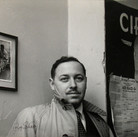 """Roy Schatt [1909-2002]  Tennessee Williams Backstage at Circle in the Square during """"Summer and Smoke""""  photo 1953  vintage gelatin silver print mounted on cardboad, stamped  paper size > 12.5 x 16 inches  © Estate of Roy Schatt"""