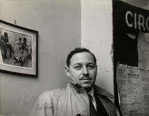 """Tennessee Williams backstage at Circle in the Square during """"Summer and Smoke"""" in New York City, 1953"""