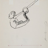 Untitled (Acrobat), circa 1950s ink on paper, signed 11 x 8 ½ inches