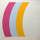 Charles Hinman Curves Left, 1970  silkscreen on embossed paper, edition of 90, signed 26 x 26 inches
