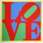Robert Indiana  Heliotherapy Love, 1995  serigraph, edition of 300, signed and numbered  40 x 40 inches