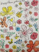 """Screenprint of colorful flower illustrations with text """"Happy Flower Gathering Days"""""""