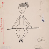 Untitled (Ballerina 3), circa 1950s ink on paper, signed 11 x 8.5 inches