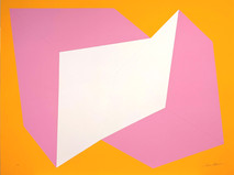 Print of two interconnected rectangular prisms, pink and white, on orange background