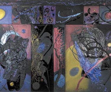 James Hendricks  Ode to Bosch II  acrylic and polychromatic pigments on canvas,  66 x 141 inches