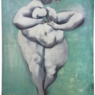 Boris Lurie (1924-2008) Dismembered Woman: Nude, Stepping, circa 1955 oil paint on cotton twill fabric 61 x 47 inches
