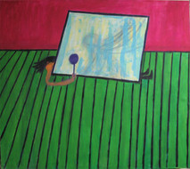 Acrylic on canvas painting of interior with green floors, a character crushed underneath a large mirror