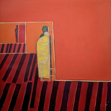 James Juthstrom (1925-2007) Untitled (Red Walls), circa 1990s acrylic on canvas 50 x 46 inches