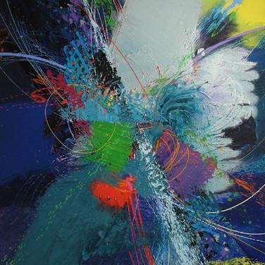 James Hendricks  Green Center  acrylic, acrylic gels on canvas,  48 x 38 inches