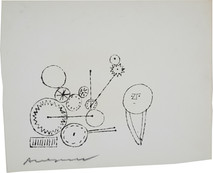 Untitled (Thinking 3), circa 1950s ink on paper [blotted ink technique], signed 8.5 x 10.5 inches