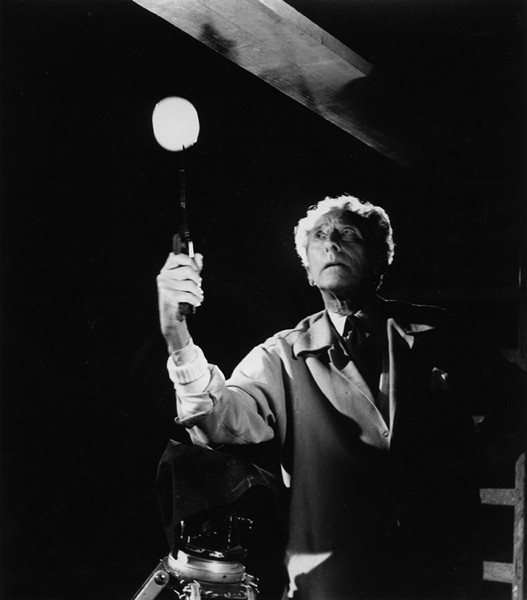 Lucien Clergue [1934-2014]  Jean Cocteau on the set of Testament of Orpheus, Nice  photo 1959 [printed later]  gelatin silver print, edition of 30 PF, signed  Paper Size: 15.5 x 11.75 inches   39.4 x 29.8 cm Image Size: 12.5 x 11 inches   31.8 x 27.9 cm