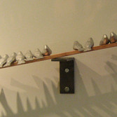 Kasia Pawluskiewicz  Little Birds on a Big Wire sculpture metal, wood 5 ft x 4 inches