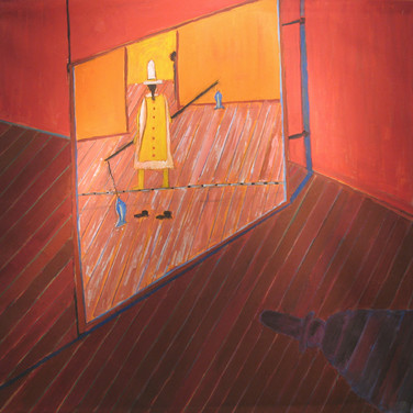 James Juthstrom (1925-2007) Balancing Act circa mid-1990s  acrylic on canvas 67.25 x 70 inches
