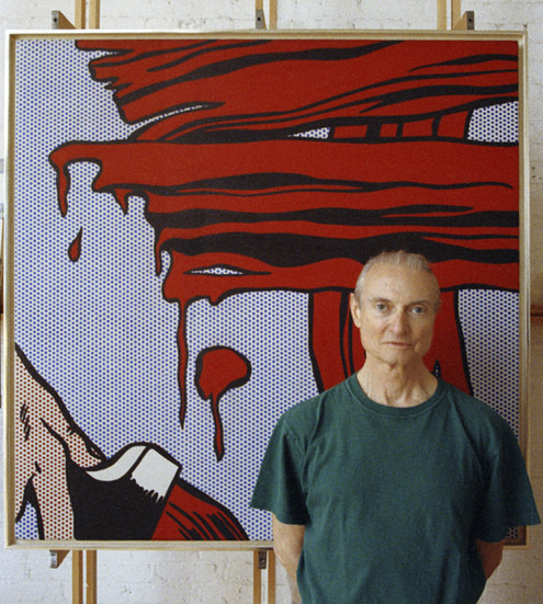 """BOB ADELMAN (1930-2016) Roy Lichtenstein in front of """"Brushstrokes"""" (1965) photograph 1993 [printed later] archival pigment print, AP, signed  Paper Size: 22 x 20 inches 