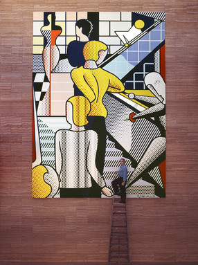"""BOB ADELMAN (1930-2016)  Roy Lichtenstein in front of """"Bauhaus Stairway; Large Version,"""" a mural for I. M. Pei's new building for the Creative Artists Agency, Inc, Los Angeles  photograph 1989 (printed later)  archival pigment print on Kodak paper, edition of 50 stamped by the Bob Adelman estate paper size > 20 x 16 inches"""