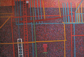 Acrylic abstract painting of white, red, blue, green lines on violet, red background, resembling fire escapes on buildings